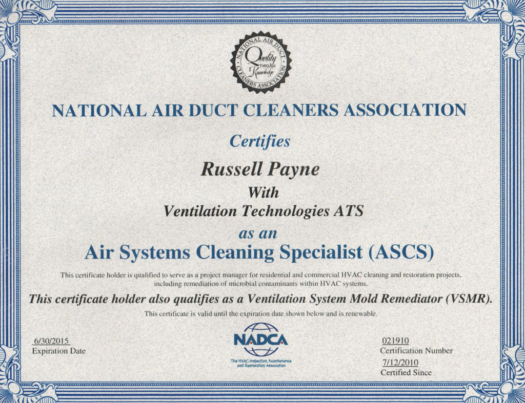Air Duct Cleaning Certification Venttec Duct Cleaning