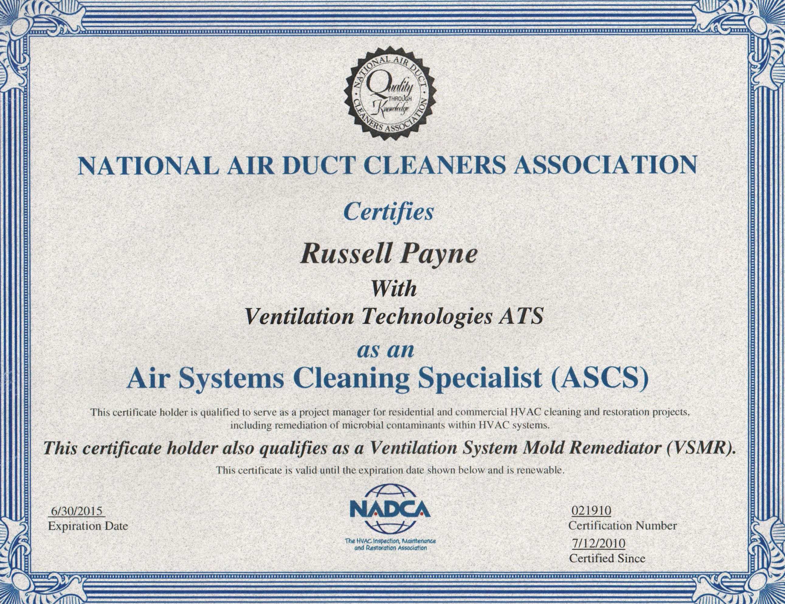 Air Duct Cleaning Certification Venttec Duct Cleaning Nadca